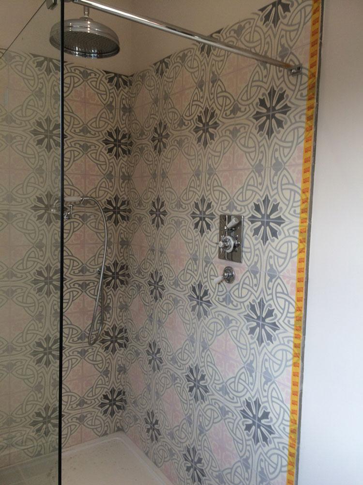 Fossil Stone Dublin - Encaustics Tiles in Shower