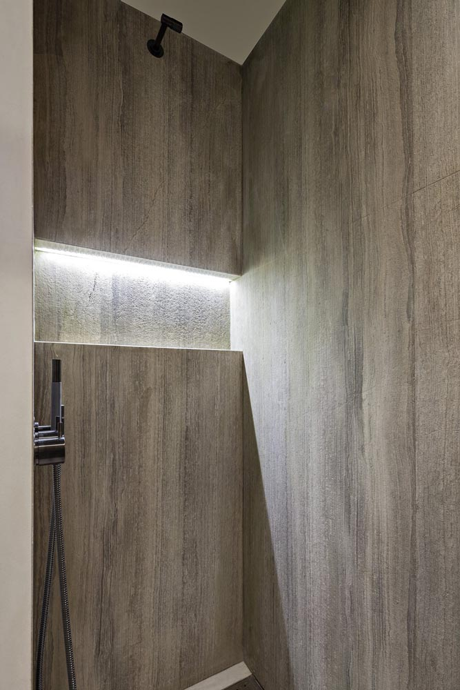 Fossil Stone Dublin - oak grey shower wall slabs scratched